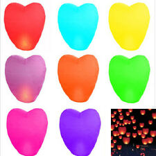 10xHeart Shape Paper Chinese Lanterns Fire Sky Wish Lanterns Lamps Wedding Party