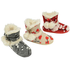 Ladies Dunlop Slippers Ankle Boots New Womens Fur Lined Winter Warm Shoes Size