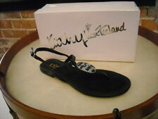 Kathy Van Zeeland Alex Black Jeweled Thong Sandal New