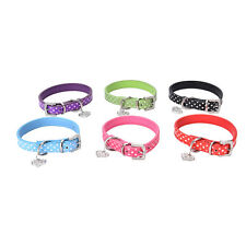 Pet Dog Adjustable PU Leather Polka Dot Rhinestone Buckle Neck Strap Collar EF