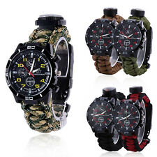 Field Survival Watches Compass Flint Fire Starter Paracord Thermometer Whistle