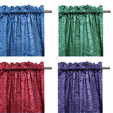 Pair of Polyester Cotton Unlined Rod Pocket Damask Curtains - 110 x 213cm