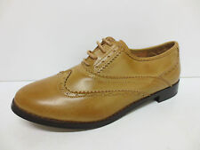 LADIES SPOT ON TAN LACE UP BROGUE SHOE STYLE- F9487