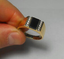 14K SOLID GOLD Mens Top Quality Vintage Black Onyx & Diamond Ring Sz 13 AWESOME