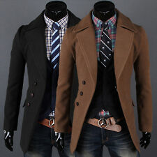 Mens Winter Peacoat Slim Fit Trench Coat Long Jacket Warm Windbreaker Outwear