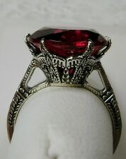 6ct*Ruby* Solid Sterling Silver Edwardian 1910 Etched Filigree Ring Size Any/MTO