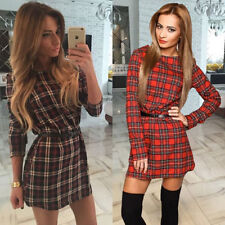 Womens Ladies Bodycon Long Tops Casual Tartan Plaid Check Party Shirt Mini Dress