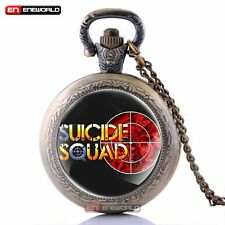Vintage Suicide Squad Antique Pocket Watch Quartz Pendant Necklace Chain Gift