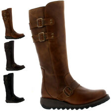 Ladies Fly London Solv Leather Knee High Rain Leather Snow Wedge Boots All Sizes