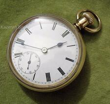 Antique Gold Plated Fob Pocket Watch 3/4 Plate Movement Working c1910