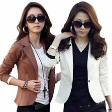 New Trendy Womens One Button OL Tops Jacket Coat Casual Slim Suit Blazer Outwear