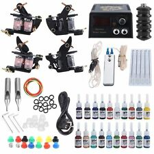 Tattoo Kit 2 Machine Guns Shader 20 Colors Ink Needles Power Supply Tips AUS