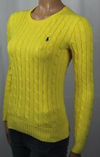 Ralph Lauren Yellow Cable Knit Crewneck Sweater Blue Pony NWT