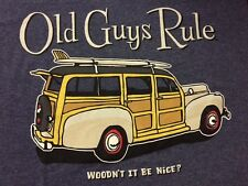 "OLD GUYS RULE CLASSIC ""WOODN'T IT BE NICE"" NAVY HEATHER  T SHIRT NWT"