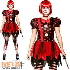 Horror Clown Ladies Fancy Dress Halloween Scary Circus Adults Womens Costume New