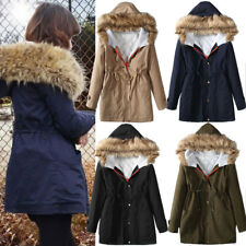 New Womens Ladies Winter Fur Hooded Warm Thick Parka Coat Jacket Size 8-18