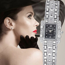 Silver Luxury Fashion Rhinestone Square Dial Stainless Steel Wrist Watch