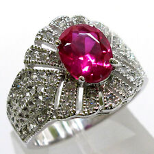 TRENDY 2 CT RUBY 925 STERLING SILVER MICRO PAVE RING SIZE 5-10