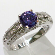 CLASSY 1 CT AMETHYST 925 STERLING SILVER MICRO PAVE RING SIZE 5-10