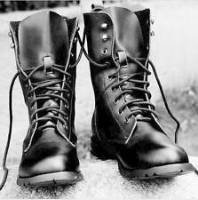 Men's Genuine Leather Lace Up Warm Lining Rivets Motorcycle Combat Boots Shoes