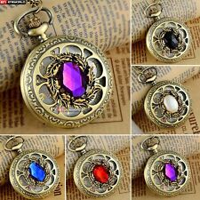 Steampunk Petal Hollow Gem Quartz Vintage Pocket Watch Chain Necklace Gift Retro