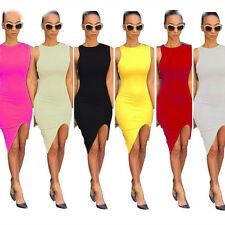 Sexy Women Solid Slim Cocktail Sleeveless Bodycon Clubwear Split Party Dresses