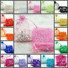 25/100Pcs Sheer Organza Bag Sheer Jewelry Cabdy Pouch Wedding Favor Case Bags