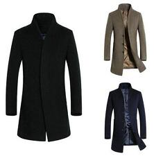 Mens fashion stand collar wool blend trench slim fit business long coat overcoat