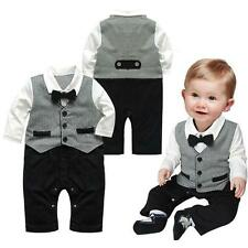 Baby Boys Formal Party Christening Wedding Tuxedo Waistcoat Bow Tie Suit 0-24M