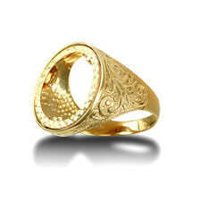 Jewelco London 9ct Gold Floral Engraved Half Sovereign Mount Ring