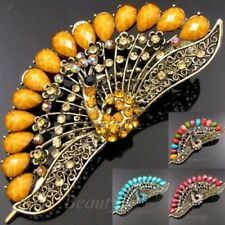 ADD'L Item FREE Shipping - Rhinestone Crystal Antiqued Peacock Hair Clamp Clip