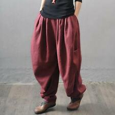 Casual Low Crotch Baggy Elastic Linen Womens Harem Pants Bloomers Pocket slacks