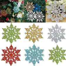 12PCS DIY Glitter Snowflake Christmas Ornaments Xmas Tree Hanging Decoration FT
