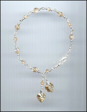 Beautiful Sterling Charm Bracelet w/ Swarovski GOLDEN SHADOW Crystal Hearts
