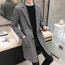 Men's Slim Fit Stylish long Trench Coat Winter Jacket Wool Blend Overcoat New