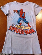 NEW Youth Girls Marvel Heroes Amazing Spiderman Blue T Shirt Sizes S to XXL