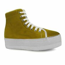 Jeffrey Campbell hOMG Hi Top Platform Shoes Womens Mustard/Wht Trainers Sneakers