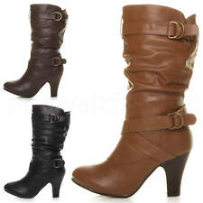 WOMENS LADIES MID HIGH HEEL BUCKLE ZIP RUCHED SLOUCH RELAXED CALF BOOTS SIZE