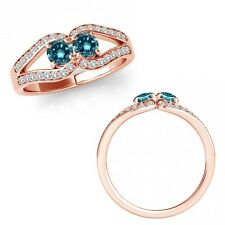 1 Ct Blue Diamond Forever Us Two 2 Stone Fancy Ribbon Halo Ring 14K Rose Gold