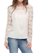 Women Lace Panel Sleeve Semi Sheer Chiffon Top Blouse