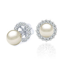 7 MM White Cultured Pearl Solitaire Stud Earrings Halo Jackets 14K White Gold