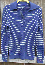 TOMMY HILFIGER NAVY BLUE STRIPED CASUAL COTTON LONG SLEEVE SWEATER TOP M L NEW