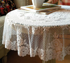 """Romantic Victorian Rose Table Topper by Heritage Lace, 42"""" Round Ecru or White"""