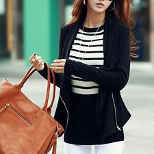 Fashion Womens Jacket Slim Blazer Black Fit Outwear Zipper Casual Coat Outwear