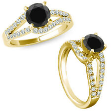 1 Carat Black Diamond Solitaire Promise Anniversary Bridal Ring 14K Yellow Gold