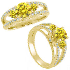 1 Ct Yellow Diamond Three Stone Eternity Wedding Promise Ring 14K Yellow Gold