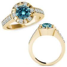 1.75 Carat Blue Round Diamond  Solitaire Halo Engagement Ring 14K Yellow Gold