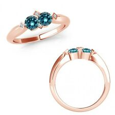 1 Ct Blue Diamond Forever Us Two 2 Stone Fancy Solitaire Ring 14K Rose Gold