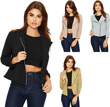 Womens Cropped Fitted Jacket Top Ladies Zip Lapel 3/4 Sleeve Stretch Plain 8-14