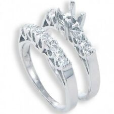 0.50CT Women's Diamond Engagement Semi Mount and Wedding Band Rings Set 14kt